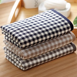 Plaid Pattern Rectangular Quick-Dry Cotton Face&Hand Towel