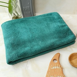 Plain Pattern Coral Fleece Rectangular Quick-Dry Bath Towel