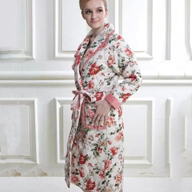 Graceful Beautiful Floral Print Female Cotton Bathrobe