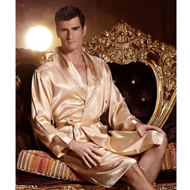 Luxurious Handsome Men's Long Sleeve Sexy Bathrobe