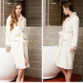 Sumptuous Winter Coral Velvet Women' s Bathrobe