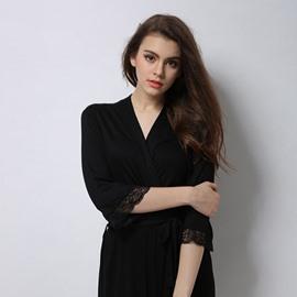 Charming Modal Fashion Black Lace Women' s Bathrobe