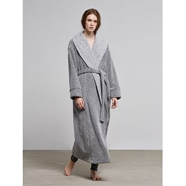Concise Grey Warm Coral Fleece Women's Bathrobe