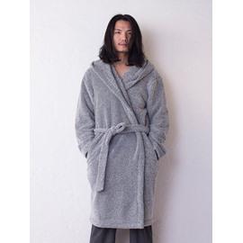 Concise Grey Thicken Men's Bathrobe with Hood