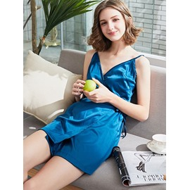 Blue Summer Sexy Spaghetti Strap Polyester Women's Bathrobe