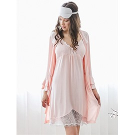 Spaghetti Strap Lace Long-sleeved Women's Bathrobe