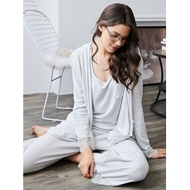Leisure Style Lace Long Sleeve Women's Bathrobe Set