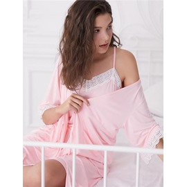 Knee-Length Leisure Style Hollow Lace Women's Bathrobe Set
