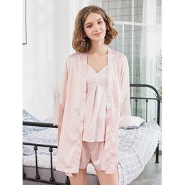 Pink Letter Lace-up Polyeater Women's Bathrobe Set
