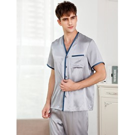 Gray High Quality Short Sleeve Silk Material Male Bathrobe