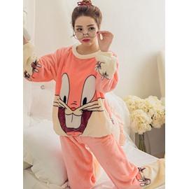 Two Color Super Cute Rabbit Coral Cashmere Women Bathrobe