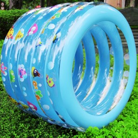 38*28in Portable Inflatable Round Shape Cartoon PVC Blue Child SPA Bathtub