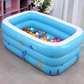 51*35*20in Portable Inflatable Rectangular PVC Blue Child SPA Bathtub