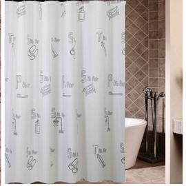 New Style Unique Cartoon Alphabet Printing Shower Curtain