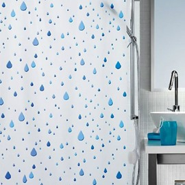 New Arrival Pretty Blue Raindrop Printing Shower Curtain