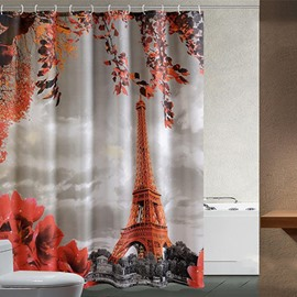 3D Eiffel Tower Printed Polyester Orange Bathroom Shower Curtain
