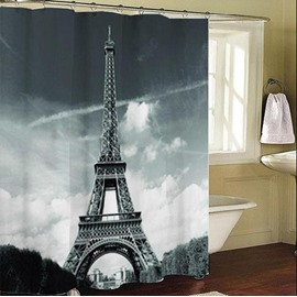 3D Eiffel Tower Printed Polyester Gray Bathroom Shower Curtain