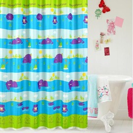 High Quality Cartoon Hippo Print Shower Curtain