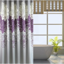 Romantic Noble Purple Peony Jacquard Shower Curtain