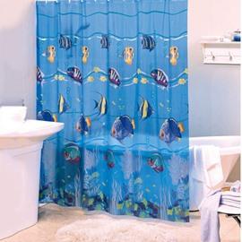 Dynamic Lovely Fish Blue PVC Shower Curtain
