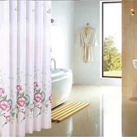 Graceful Flower Print Extra Long Bathroom Shower Curtain