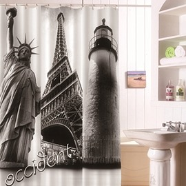 Unique Statue of Liberty and Eiffel Tower Print 3D Shower Curtain