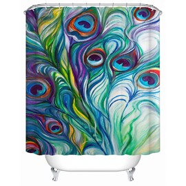 3D Peacock Printed Polyester Colorful Bathroom Shower Curtain