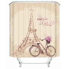 Dreamlike Eiffel Tower and Bike 3D Shower Curtain