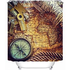 Retro Compass and Map 3D Shower Curtain