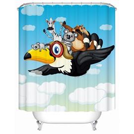Cute Flying Eagle Print Cartoon Shower Curtain
