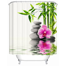 Superb Bamboo Flower and Stone Brisk Shower Curtain