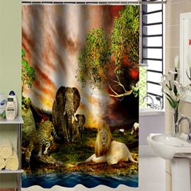 Wonderful The Land of Animals Kingdom Printed 3D Shower Curtain