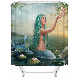 3D Mermaid Printed Polyester Green Bathroom Shower Curtain