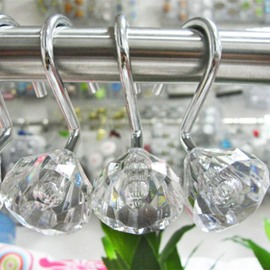 Concise Diamond Design 12-Pieces Shower Curtain Hooks