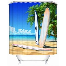 Vivid 3D Coconut Trees and Skateboard Print Shower Curtain