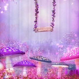 3D Waterproof Mushrooms and Swing Printed Polyester Purple Shower Curtain
