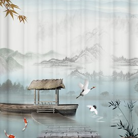 Unique Chinese Ink and Wash Painting Image Shower Curtain