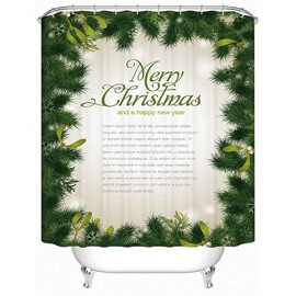 Green Pine Leaves Print 3D Shower Curtain