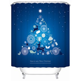 Unique Design Darkblue Chirstmas Night View Shower Curain