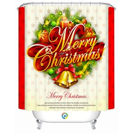 Brisk Festive Christmas Tree Decor with Presents and Bells Printing 3D Shower Curtain