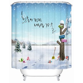 Lovely Peaceful Concise Design Winter Day Shower Curtain