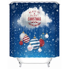 Creative Design Christmas Flying Cloud and Baubles Printing 3D Shower Curtain