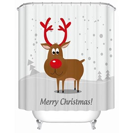 Cute Adorable Cartoon Christmas Deer Printing 3D Shower Curtain