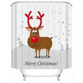 Cute Adorable Cartoon Christmas Deer Printing 3D Shower Curtain