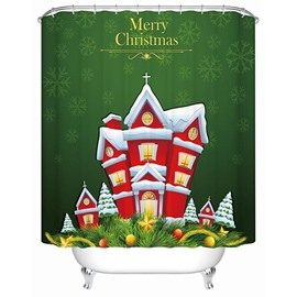Peaceful Lovely Cute Christmas House Printing 3D Shower Curtain