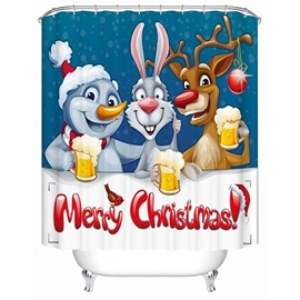Adorable Lovely Cartoon Christmas Animals Printing 3D Shower Curtain