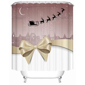 Graceful Peaceful Bow-knot and Flying Deer Printing Christmas Theme 3D Shower Curtain