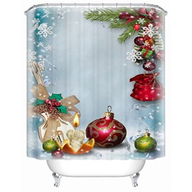Fabulous Sweet Christmas Candles and Baubles Shower Curtain