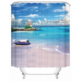 3D Beach Scenery Printed Polyester Light Blue Shower Curtain