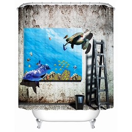 Innovative Design Brisk Underwater World Painting 3D Shower Curtain